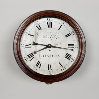 ALEX GLASS, LONDON. A FINE SILVERED DIAL ENGLISH WALL CLOCK
