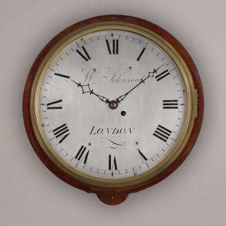 W. JOHNSON. A GOOD LATE GEORGIAN MAHOGANY WALL TIMEPIECE.