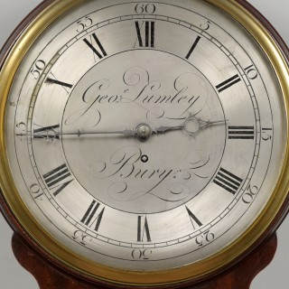 GEORGE LUMLEY, BURY. A GEORGE III PERIOD SILVERED ENGRAVED 12 INCH BRASS DIAL WALL CLOCK.