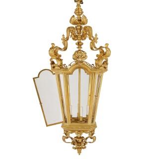 Very large Napoleon III period Rococo style gilt bronze lantern