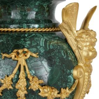Pair of antique gilt bronze mounted malachite pot pourri cassolettes