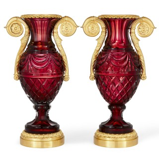 Pair of Russian Neoclassical style cut glass and gilt bronze vases