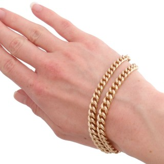 9ct Yellow Gold Double Albert Watch Chain - Antique Circa 1910