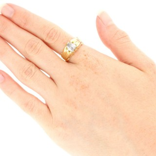 0.75 ct Diamond and 18 ct Yellow Gold Gent's Solitaire Ring - Antique French Circa 1910