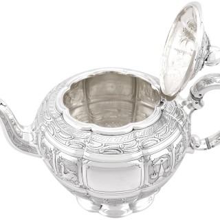 Sterling Silver Three Piece Zodiac Tea Service - Antique Victorian (1882)