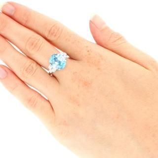 9.82 ct High Zircon and 0.29 ct Diamond, Platinum Dress Ring - Vintage Circa 1940