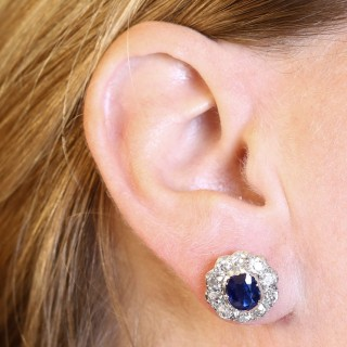 2.10ct Basaltic Sapphire and 3.30ct Diamond, 9ct Yellow Gold Cluster Earrings - Antique Circa 1890