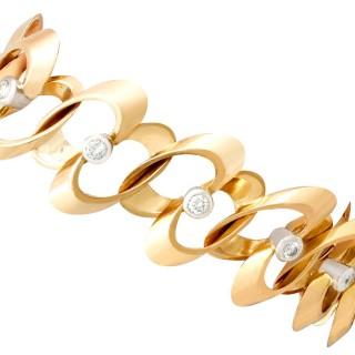 1.20ct Diamond and 18ct Yellow Gold Bracelet - Vintage French Circa 1950