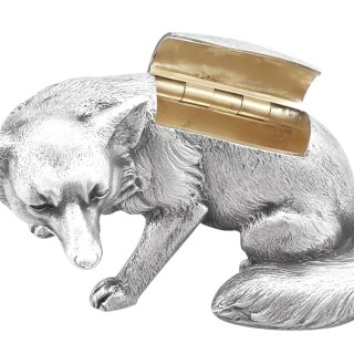 Sterling Silver Fox Boxes - Antique George V (1926)