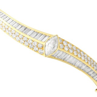 5.53ct Diamond and 18ct Yellow Gold Bangle by Kutchinsky - Vintage Italian Circa 1970