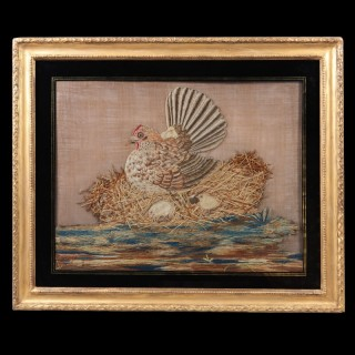 A Victorian woolwork picture of a roosting chicken