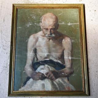 A c.1900 Italian Tempura on Canvas Study of An Elderly Gentleman