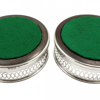 Pair of Vintage Sterling Silver Wine / Champagne Coasters 1965
