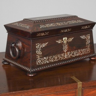 George IV Rosewood and Mother of Peal Tea Caddy