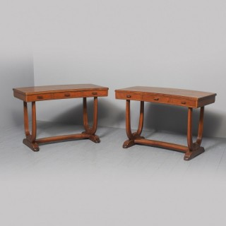 Pair of Curved Oak Side Tables by Whytock and Reid