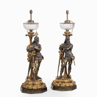 A very fine pair of mid-Victorian parcel gilt bronze oil lamps, by Hinks