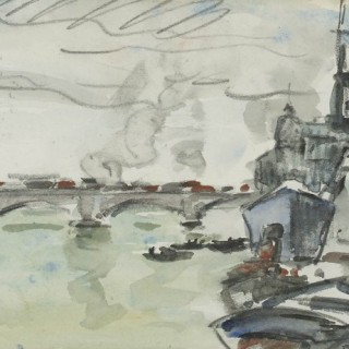 'A Naval vessel moored at a river spanned by a bridge' by Paul Maze DCM MM (1887-1979)