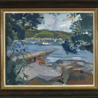 'Purple Jetty, Pink Boat' by Alexander Milligan Galt RGI (1913-2000)