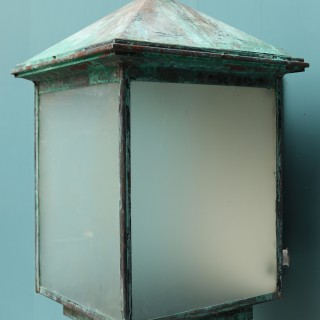 A Very Large Copper Verdigris Exterior Wall Light