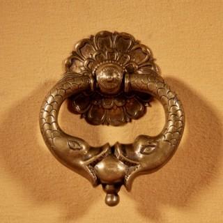 A Very Decorative Original Bronze 18th Century Complete Continental Door Knocker.