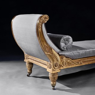 Rare Regency Giltwood and Silk Upholstered Daybed After Morel & Hughes