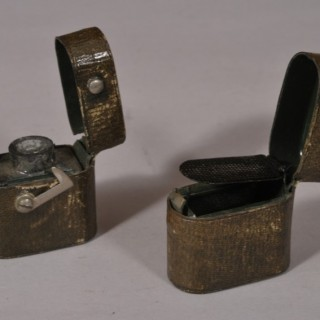 Antique Early 20th Century Pair of Simulated Leather and Tin Matchstick and Ink Cases