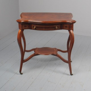 Victorian Inlaid Rosewood Serpentine Games Table