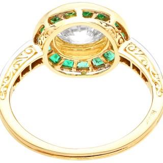 1.05ct Emerald and 1.18ct Diamond, 18ct Yellow Gold Dress Ring - Antique Circa 1930