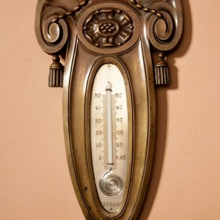 Art Deco Bronze Very Stylish Thermometer Attributed to Sue et Mare.