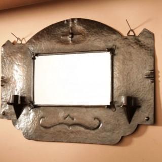 Amsterdam School  Arts Craft Hammered Copper Wall Mirror / Sconces
