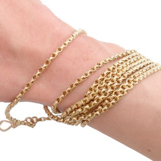 9ct Yellow Gold Longuard Chain - Antique Circa 1890