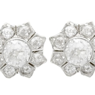 1.81ct Diamond and 18ct Yellow Gold Cluster Earrings - Antique Circa 1920