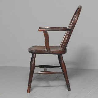 Victorian Elm and Mahogany Country Chair