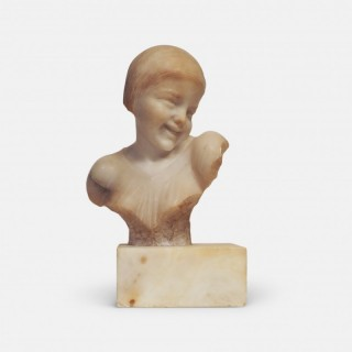 Alabaster Bust of a Laughing Child after Medardo Rosso