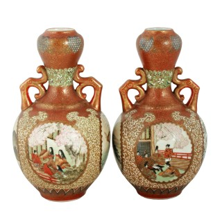 Pair of 19th Century Kutani Porcelain Vases