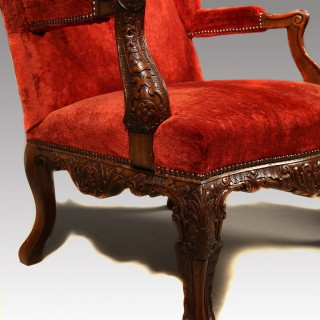 A Very Good Pair of Carved Walnut Wing Armchairs in  George III Style