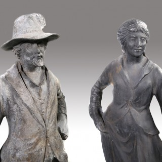A Good and Original Early 20th Century Pair of Lead Figures