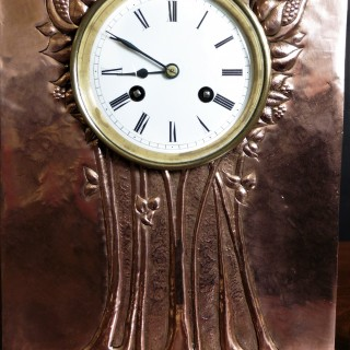 Copper Arts and Crafts French Mantel Clock