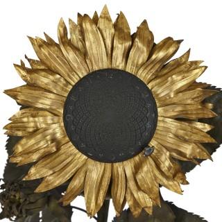 Baccarat engraved crystal sunflower-form mantel clock