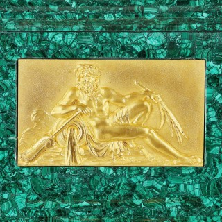 Antique French gilt bronze mounted malachite turning mantel clock