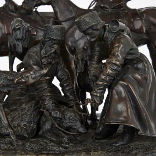 Antique Russian bronze group of Cossack soldiers after Lieberich