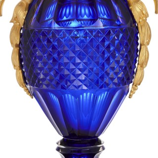 Pair of Russian cut blue glass and gilt bronze vases