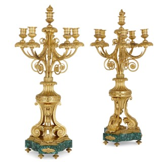 Antique pair of French Neoclassical style gilt bronze and malachite candelabra