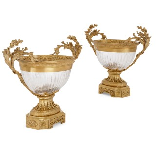 Pair of Neoclassical style gilt bronze and glass centrepiece bowls
