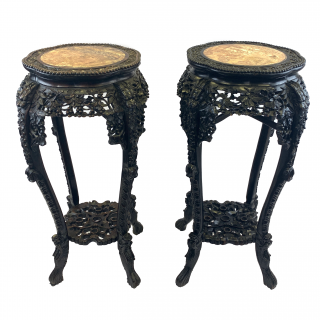 PAIR OF CHINESE MARBLE TOP STANDS