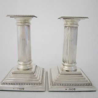 Antique Victorian Sterling Silver Candlesticks - 1893