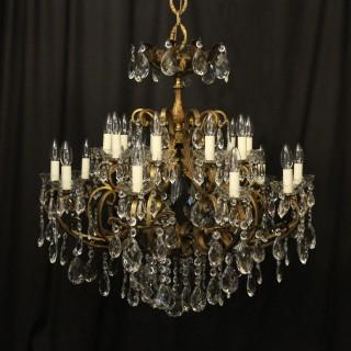 Italian Gilt & Crystal 21 Light Antique Chandelier