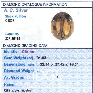 81.93ct Citrine and 9ct Yellow Gold Pendant - Vintage Circa 1950