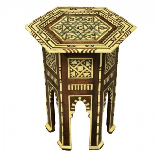 A FINE SYRIAN BONE & MOTHER OF PEARL INLAID SIDE TABLE