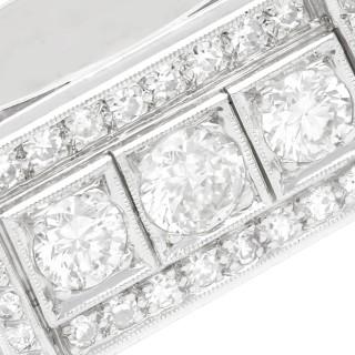 1.89 ct Diamond and Platinum Cocktail Ring - Art Deco Style - Vintage Circa 1950